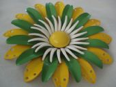 Groovy 1960's Floral Pin in Green,Yellow and White (Sold)